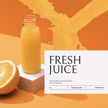 Fresh orange Juice in bottle Animated Post Modelo de Design
