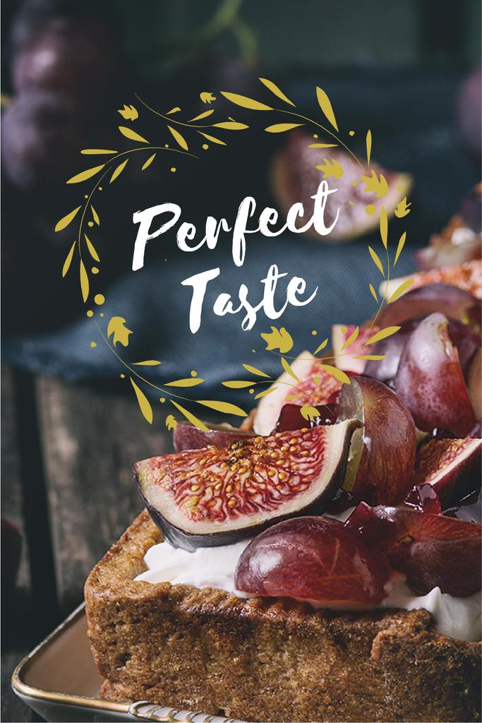 perfect taste poster with delicious cake — Maak een ontwerp