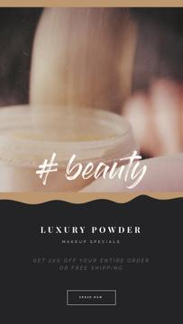Cosmetics Ad with Woman Using Face Powder
