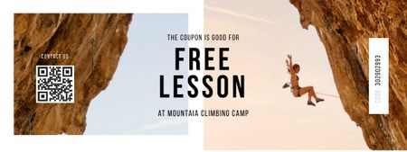 Climbing Club offer with Woman in Mountains Coupon Modelo de Design