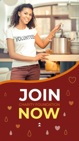 Woman cooking Charity Dinner Instagram Story Modelo de Design