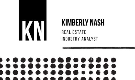 Modèle de visuel Real Estate Analyst Services with Dots Pattern - Business card