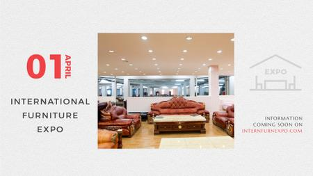 Furniture Expo invitation with modern Interior FB event cover Tasarım Şablonu