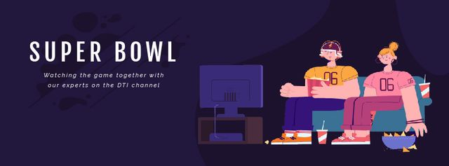 Template di design Excited Fans watching Super Bowl  Facebook Video cover