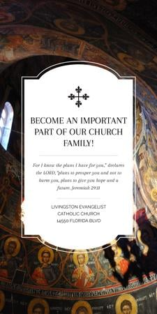 Church Invitation Old Cathedral View Graphic Design Template