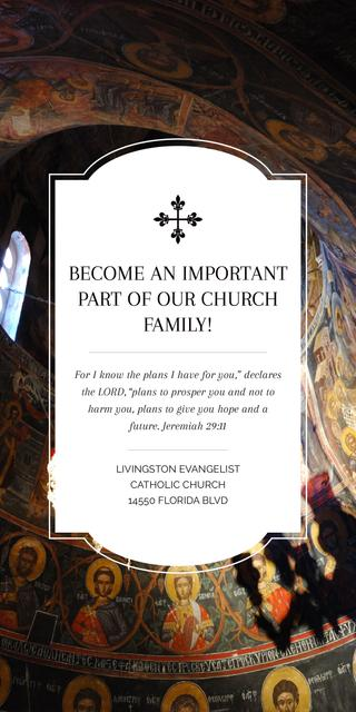 Church Invitation Old Cathedral View Graphic – шаблон для дизайна