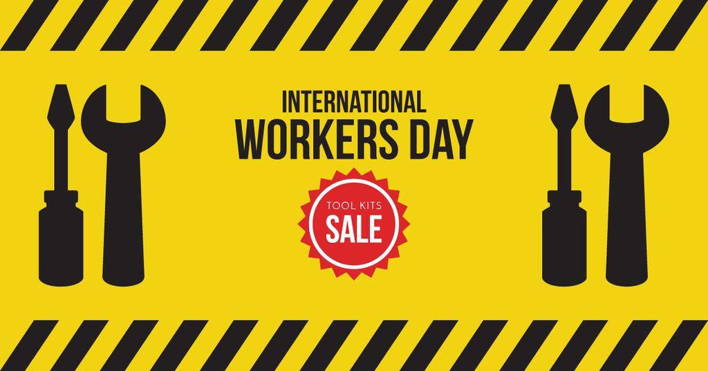 Plantilla de diseño de Sale on International Workers Day Facebook AD