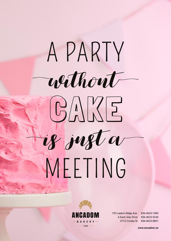 Party Organization Services with Cake in Pink — Créer un visuel