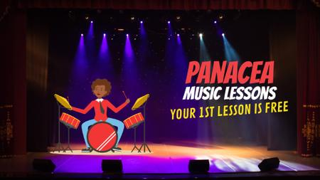 Plantilla de diseño de Music Lessons Offer Rock Star Playing Drums Full HD video