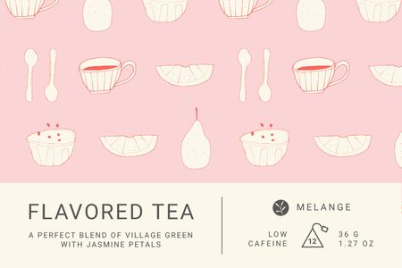 Template di design Tea packaging with cups pattern in pink Label