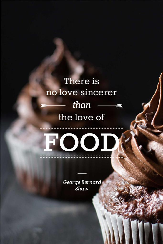 Delicious chocolate muffins with quote Pinterest Design Template