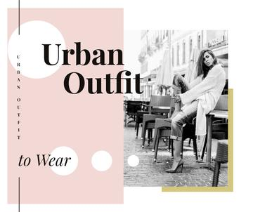 Outfit Trends Woman in Winter Clothes in City | Facebook Post Template