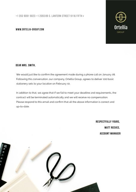 Stationery Sets Delivery Order Confirmation Letterhead Design Template
