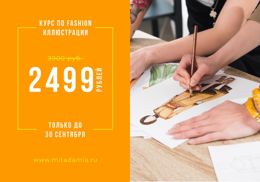 Fashion Illustration Courses Ad with artist drawing — ein Design erstellen