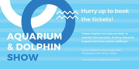 Aquarium Dolphin show invitation in blue Image – шаблон для дизайна