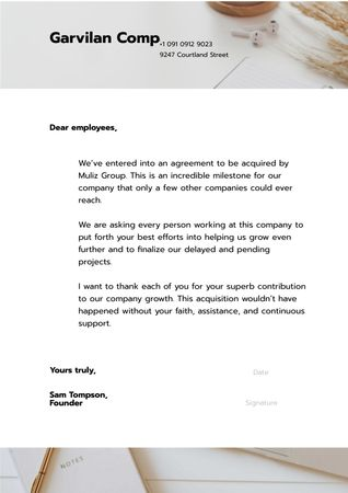Ontwerpsjabloon van Letterhead van Companies Collaboration Announcement