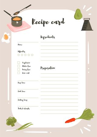 Ontwerpsjabloon van Schedule Planner van Recipe Card with cooking ingredients