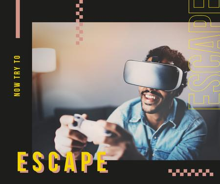 Plantilla de diseño de Man playing in vr glasses Facebook