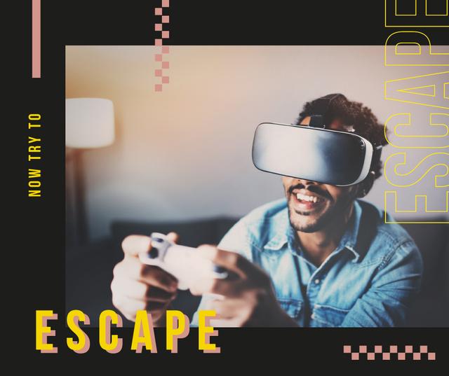 Modèle de visuel Man playing in vr glasses - Facebook