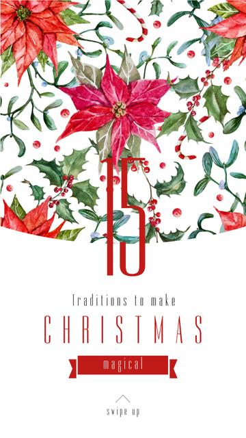 Modèle de visuel Christmas Traditions Poinsettia red flower - Instagram Story