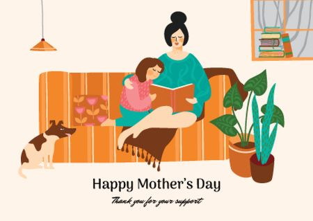Designvorlage Mother's Day with Mother reading Book to Daughter für Postcard