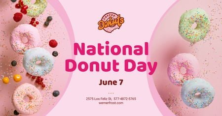 National Donut Day Offer Sweet Glazed Rings Facebook AD Modelo de Design