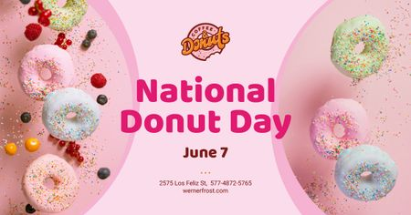 National Donut Day Offer Sweet Glazed Rings Facebook AD Design Template