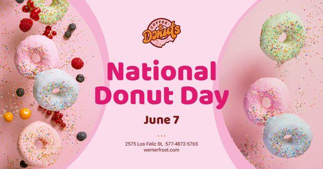 Ontwerpsjabloon van Facebook AD van National Donut Day Offer Sweet Glazed Rings