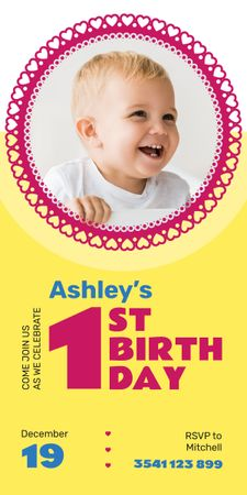 Designvorlage Baby Birthday Invitation Adorable Child in Frame  für Graphic