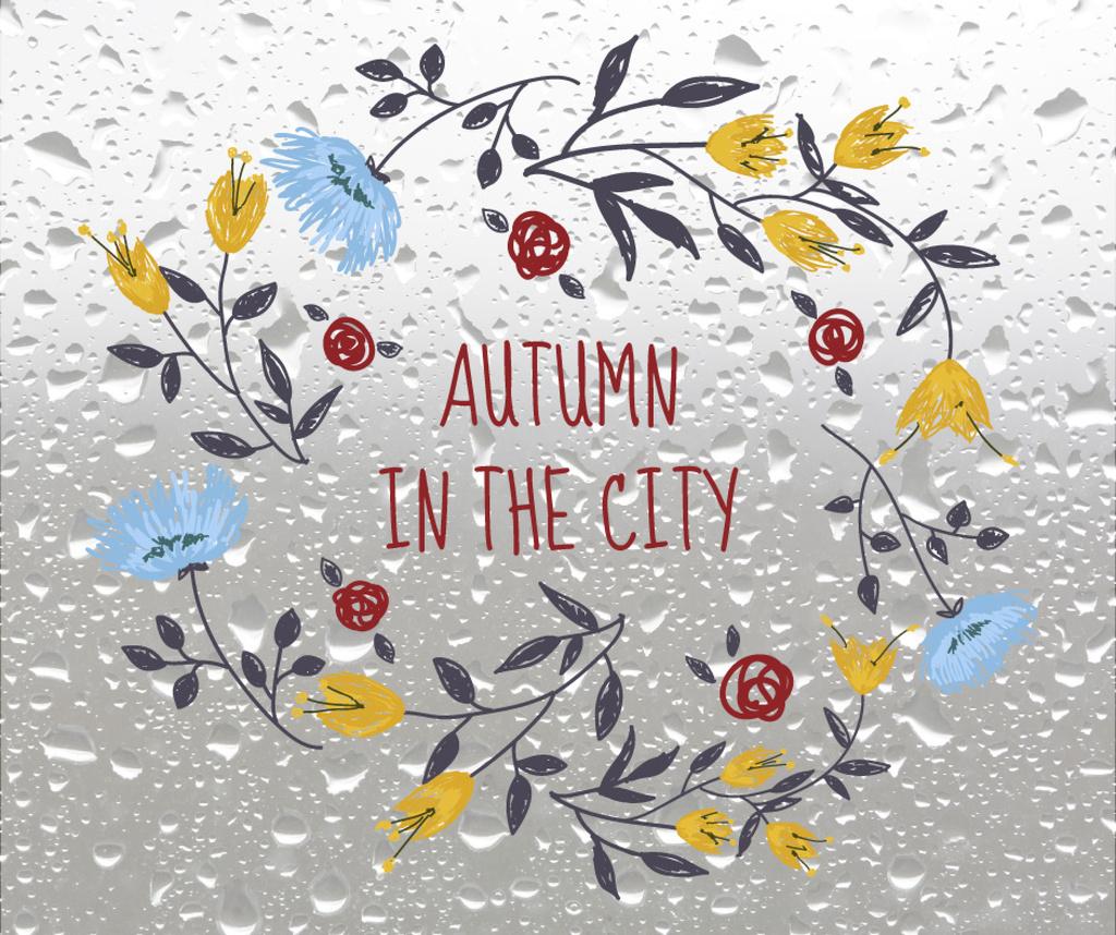 Autumn Flowers Wreath on Wet Glass | Facebook Post Template — Modelo de projeto