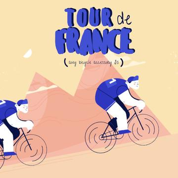 Tour De France Race Cyclists Riding in Mountains Animation