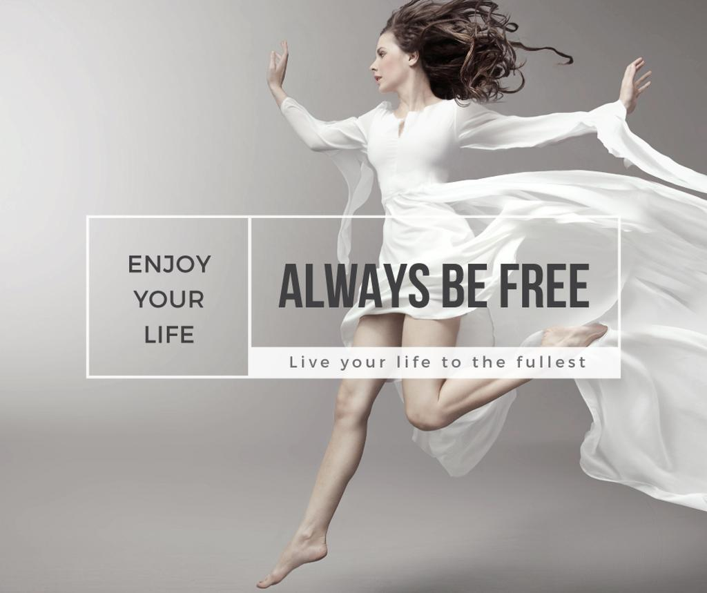 beautiful young woman in white dress and inspirational quote  — Создать дизайн