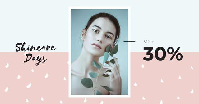 Cosmetics Offer Young Girl Without Makeup Facebook AD Design Template