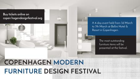 Furniture Festival ad with Stylish modern interior in white FB event cover Tasarım Şablonu