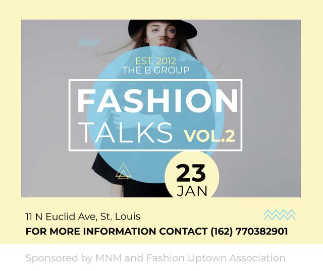 Ontwerpsjabloon van Facebook van Fashion talks announcement with Stylish Woman