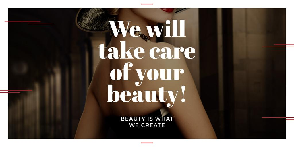Beauty Services Ad with Fashionable Woman Image Design Template
