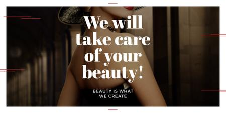 Ontwerpsjabloon van Image van Beauty Services Ad with Fashionable Woman