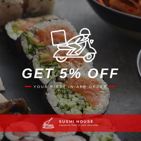 Sushi Delivery with Fresh Seafood Maki Animated Post Modelo de Design