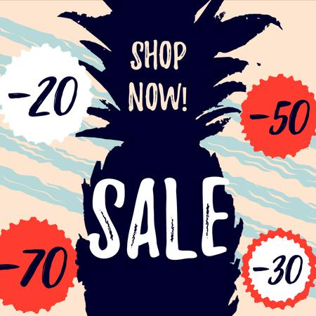 Sale Announcement with Pineapple fruit silhouette Animated Post – шаблон для дизайну
