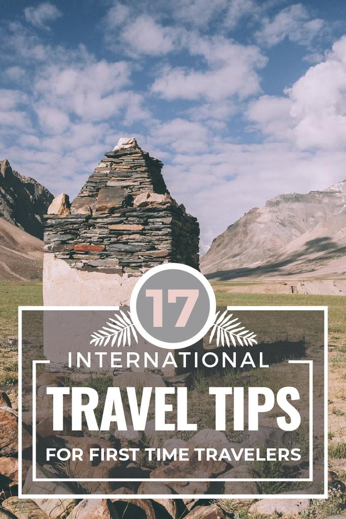 Travel Tips Stones Pillar in Mountains — Maak een ontwerp