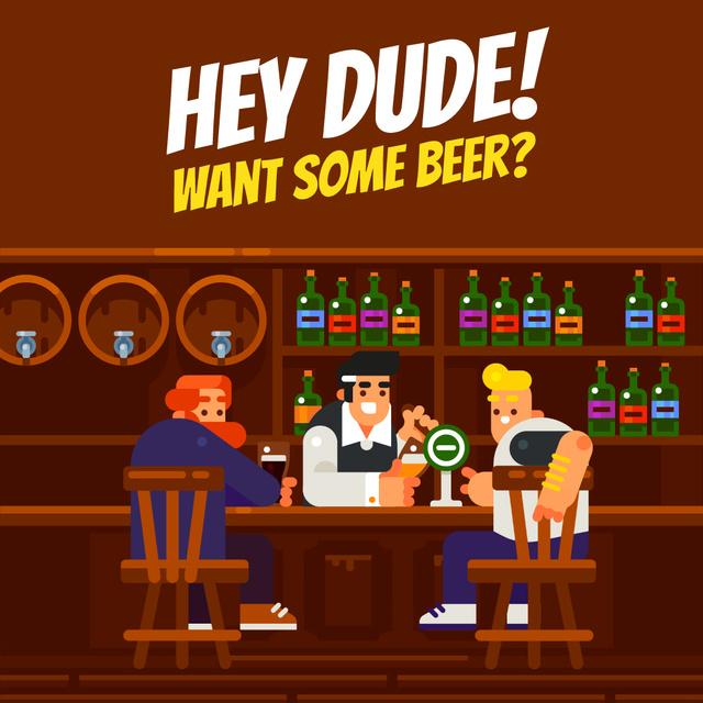 Plantilla de diseño de Men Enjoying Drinks at the Bar Animated Post