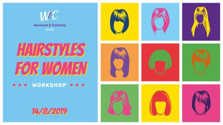 Plantilla de diseño de Various Female Hairstyles Collage FB event cover