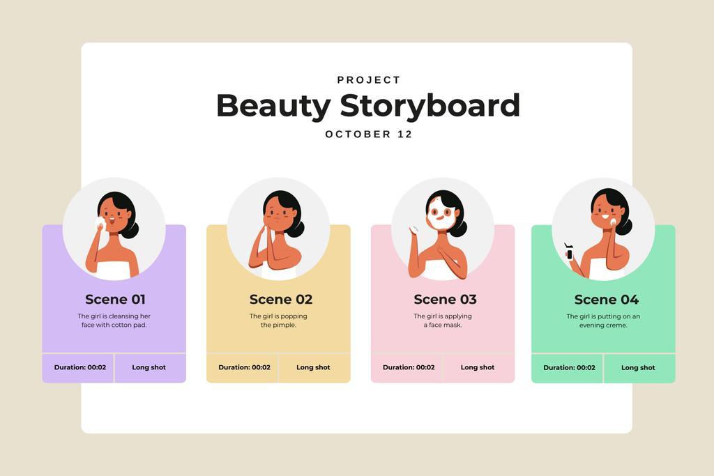 Female Beauty routine Storyboard Design Template