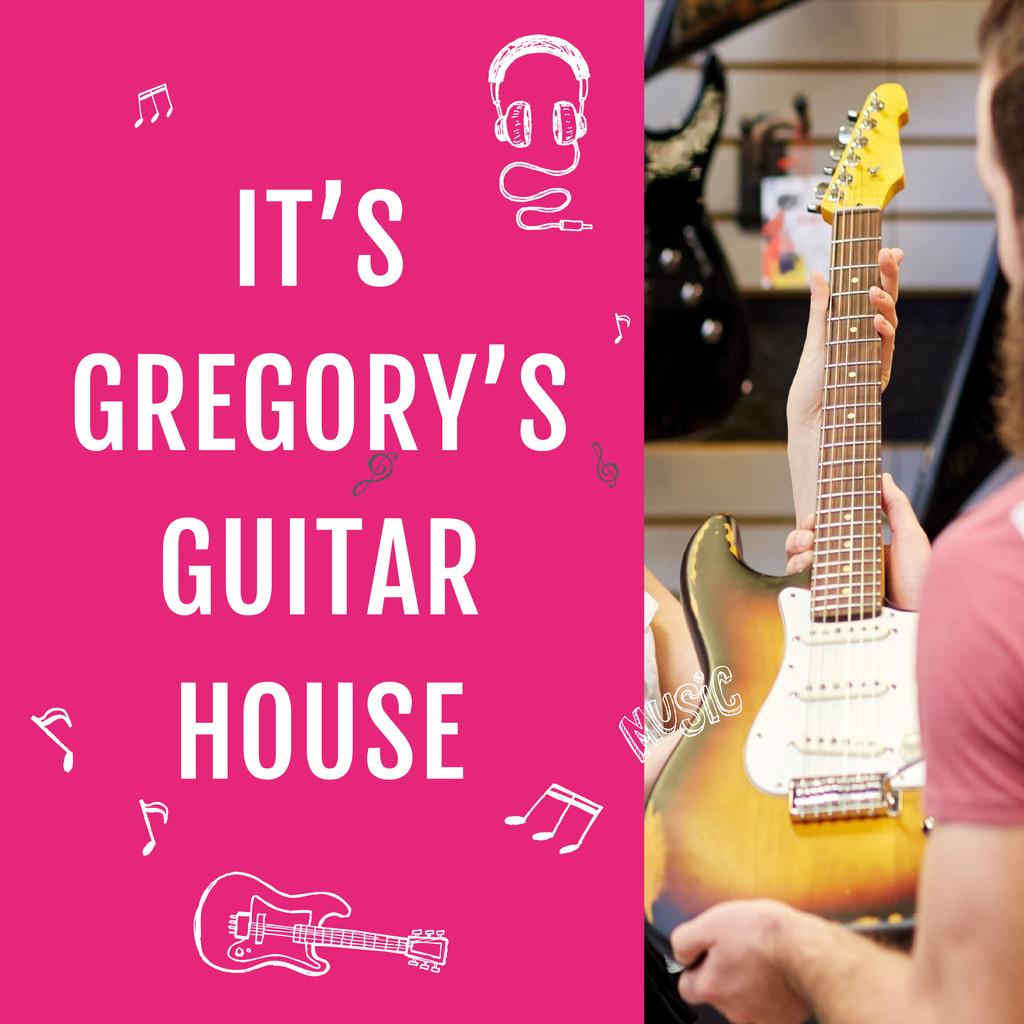 Music Store Ad Seller with Guitar — Crea un design