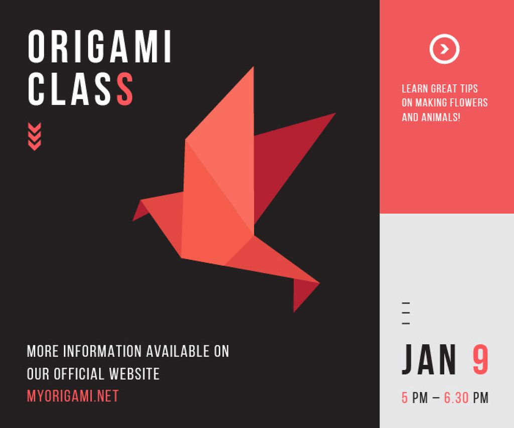 Origami Classes Invitation Paper Bird in Red | Large Rectangle Template — Crea un design