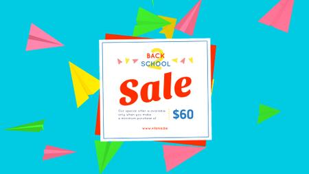 Back to School Sale Colorful Paper Planes on Blue Full HD videoデザインテンプレート