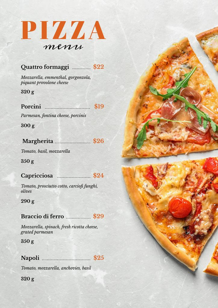 Italian Pizza pieces Menu Tasarım Şablonu