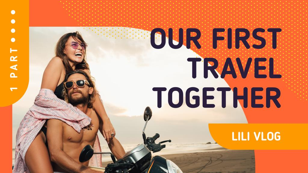 Travel Inspiration Couple on Scooter at the Beach | Youtube Thumbnail Template — Modelo de projeto