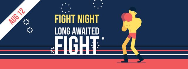 Man boxing on ring Facebook Video cover Design Template