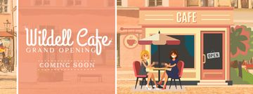 Cafe Invitation with Women Drinking Coffee | Facebook Video Cover Template